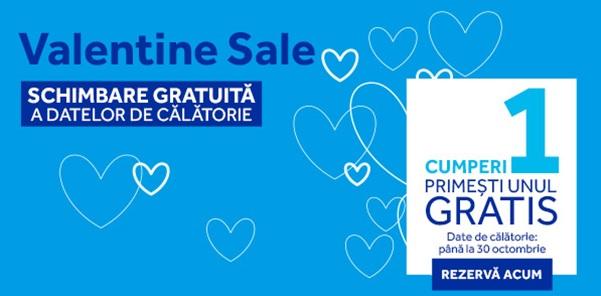 Blue Air desfasoara campania Valentine Sale, oferind 2 bilete la pret de 1