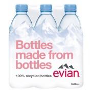 evian 0,5l in ambalaj rPET, din plastic 100% reciclat, disponibil si in Romania!