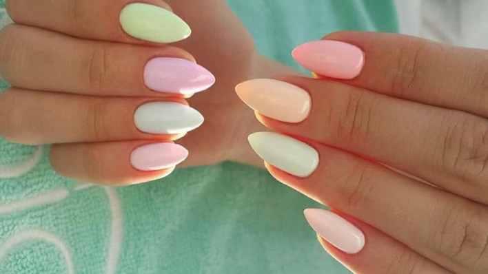 Pastel Almond Shaped Nail Design
