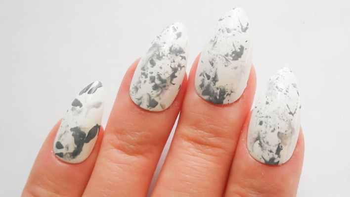 White Acrylic Almond Shaped Nails