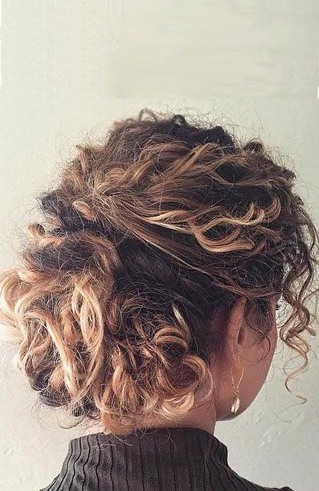 Curly Short Hair Updo