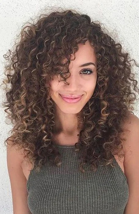 Long Curly Hair With Side Bangs