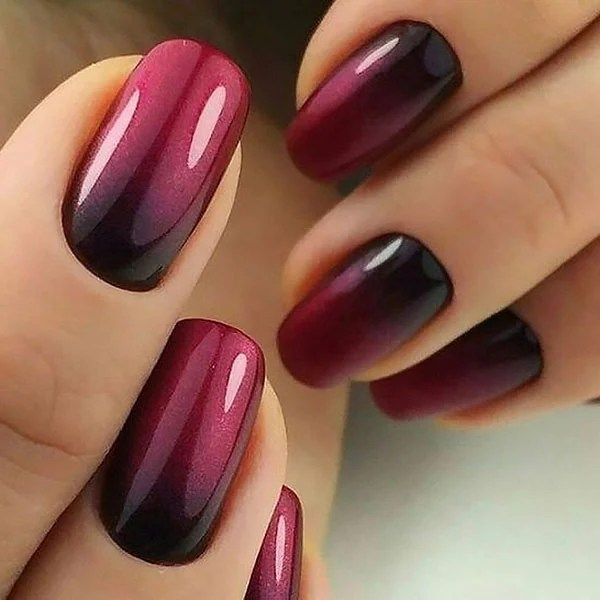Burgundy Ombre Nails