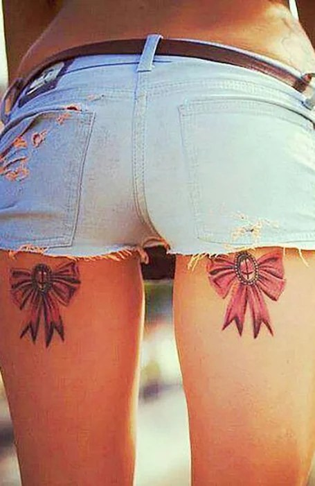 Bow Tattoo On Thigh