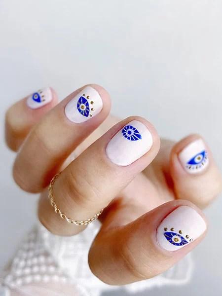 Blue Eyes Nail Art