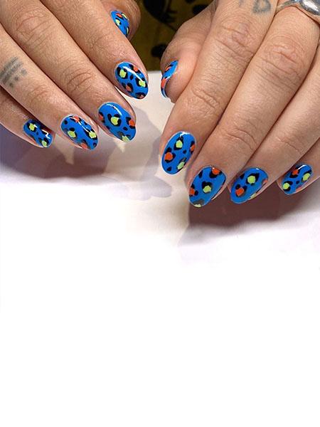 Blue Leopard Print Nails