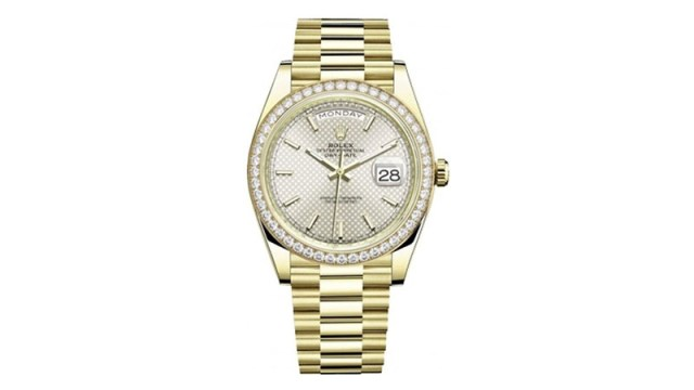 Day Date 40 Automatic Silver Dial Men's 18kt Yellow Gold President Watch