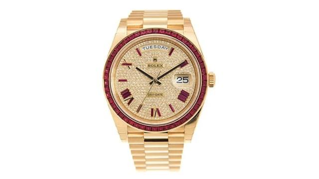 Day Date 40 Diamond Pave W Red Sapphire Bezel Men's Watch