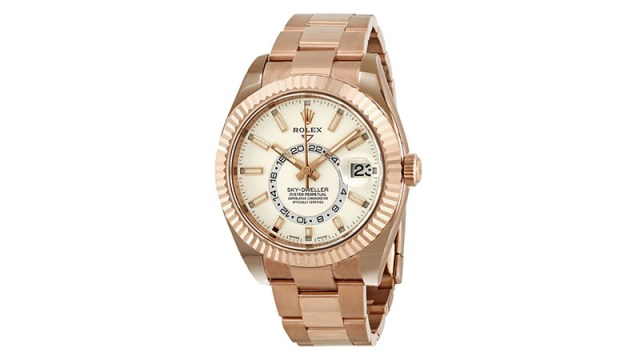 Sky Dweller White Dial Automatic Men's 18kt Everrose Gold Oyster Watch