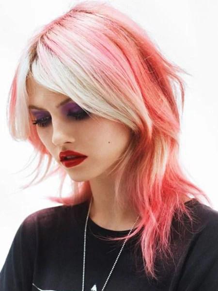Pink Hair Shag Haircut
