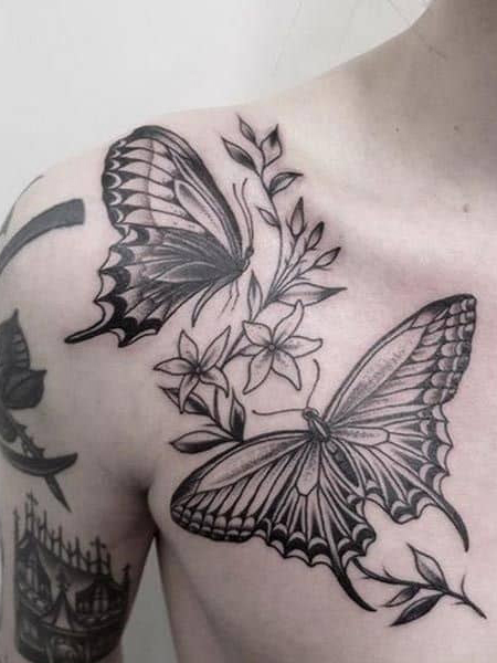 Butterfly Collarbone Tattoo