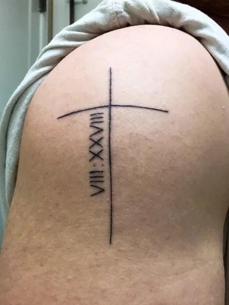 Roman Numerals And Cross Tattoo