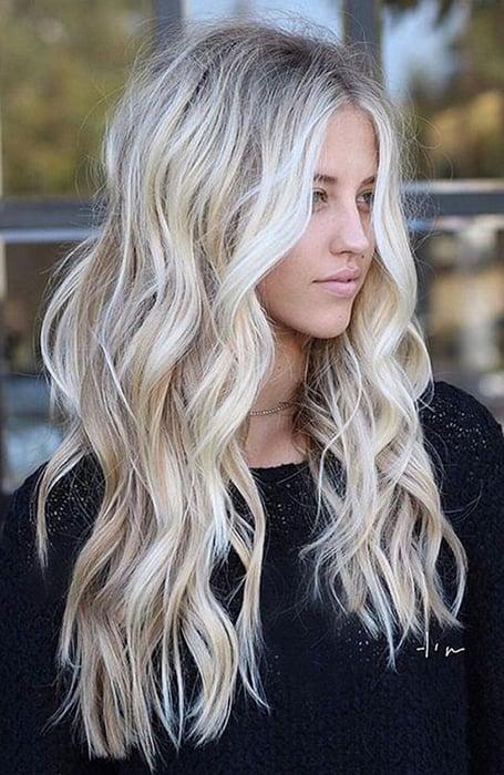 Platinum Blonde Long Layered Hair