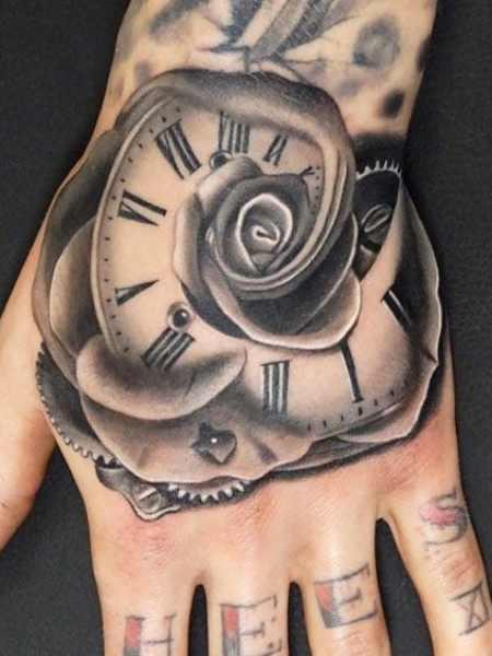 Rose Clock Tattoo