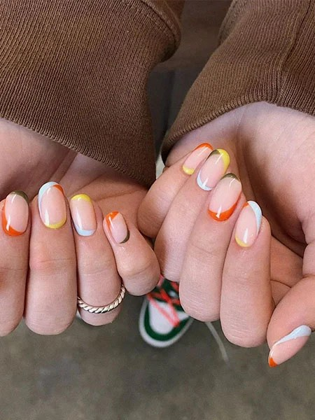 Color Block French Manicure On Two Sides