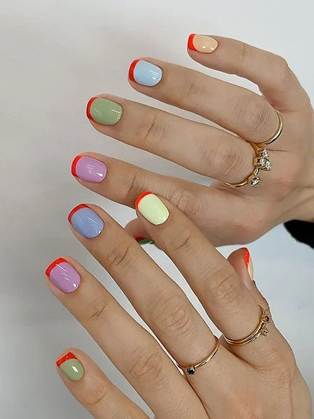 Colorful Nails With French Manicure