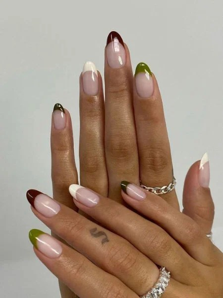 French Tip Nails In Winter Shades