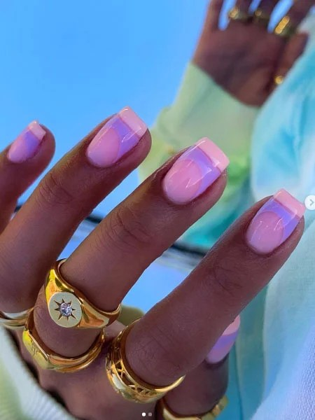 Pastel Pink And Purple French Tip Nails