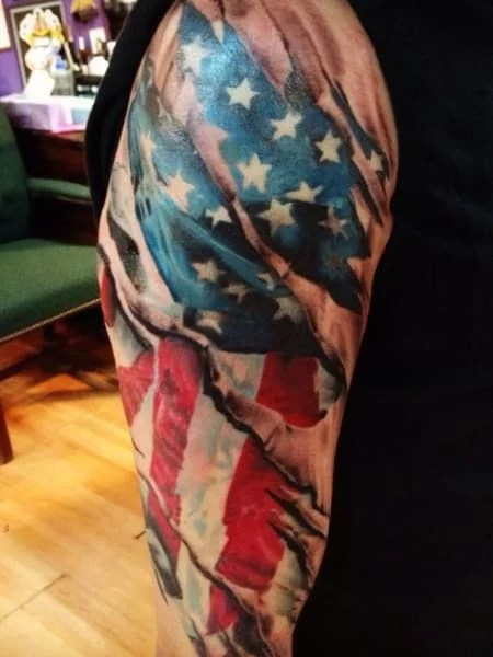 3d American Flag Tattoo