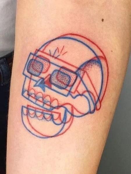 3d Glasses Tattoo