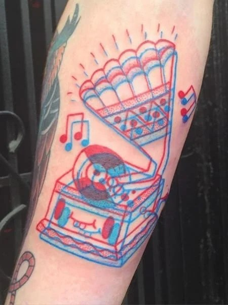 Red And Blue 3d Tattoo
