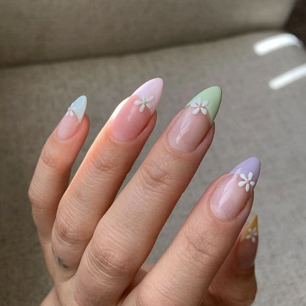 Florals With Pastel French Manicure Pretty Nails Banicured