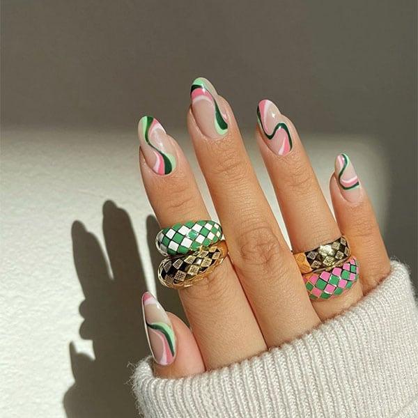 Pink And Green Swirls Nail Ideas Amyle.nails
