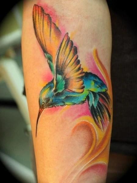 Colorful Hummingbird Tattoo1