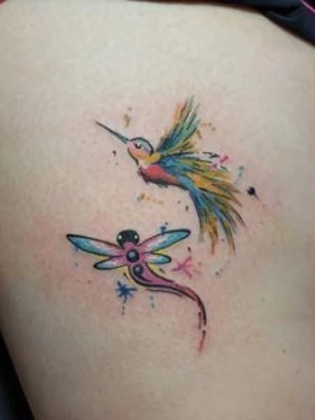 Dragonfly And Hummingbird Tattoo