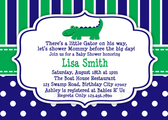 Baby Shower Invitations Boy Alligator