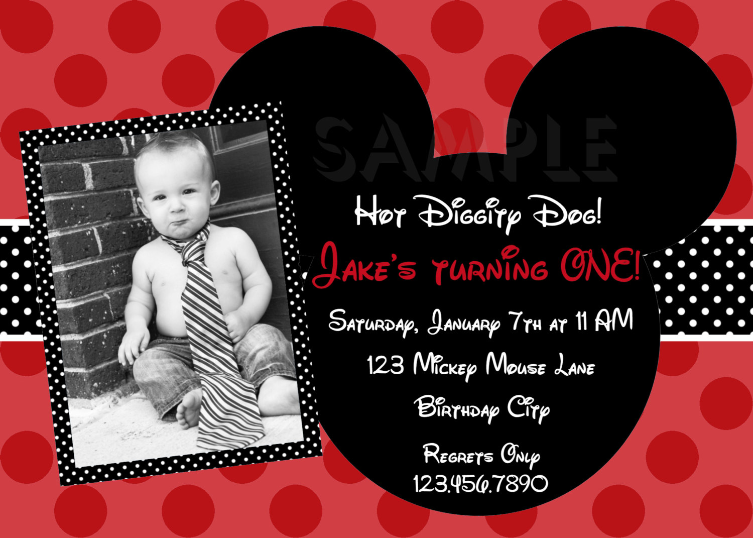 mouse red boys photo birthday invitations
