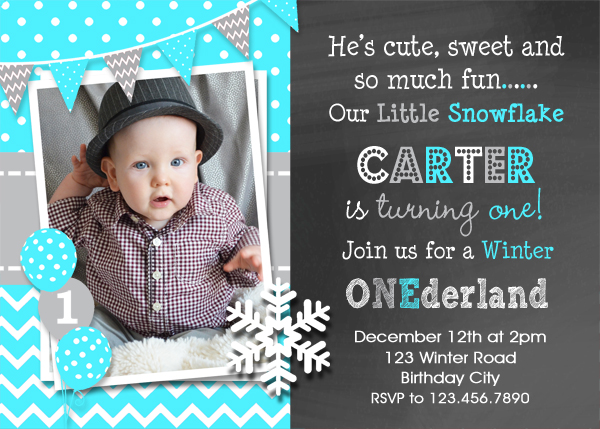Boys Winter Wonderland Birthday Invitation