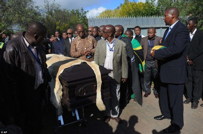 Tradition: Mandela's grandson Mandla Mandela, right, watches as local chiefs escort the lion skin draped casket of former South African President as it arrives at the Mandela residence in Qunu