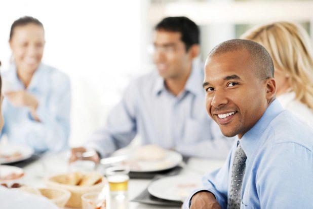 work party breakfast businessman lunch