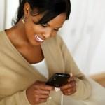 smartphone woman happy smiling phone