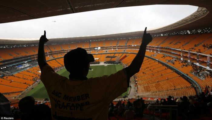His final appearance: It was in 'Soccer City' in 2010 where former President Mandela was last seen publicly before he stopped going to large events due to his ailing health