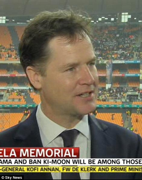 Representatives: David Cameron and Nick Clegg were attending the ceremony along with three former Prime Ministers of Britain