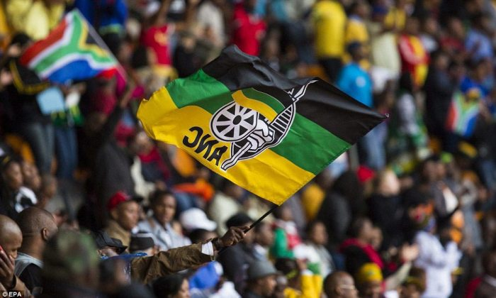 Politics: A supporter waves the flag of the African National Congress, the liberation movement which became Mandela's political party