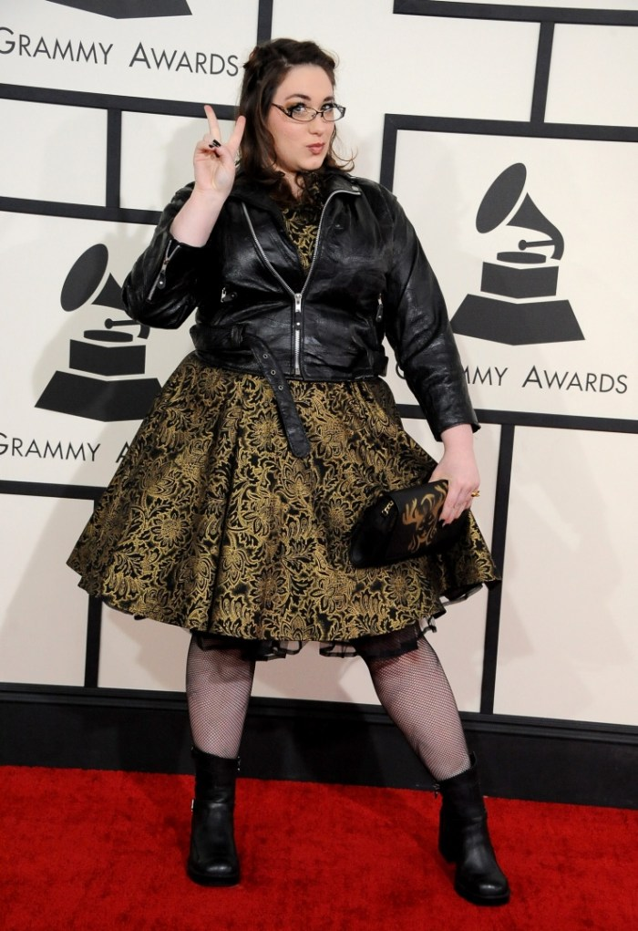 Best Recording Package GRAMMY nominee Annie Stoll arrives at the 56th Annual GRAMMY Awards on Jan. 26 in Los Angeles (Photo Credit: Steve Granitz/WireImage.com)