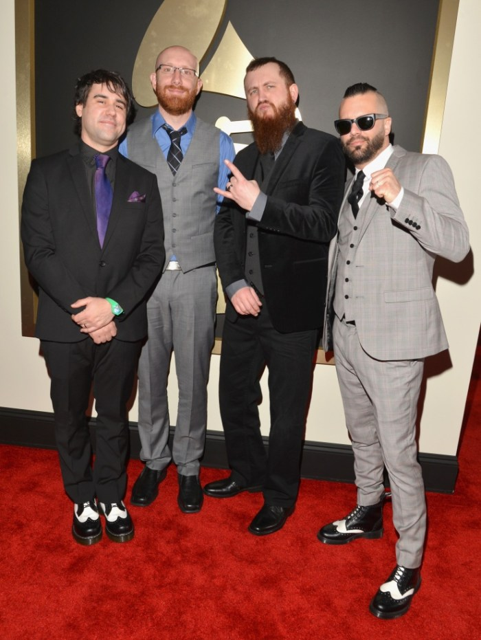 Best Metal Performance nominees Killswitch Engage arrive at the 56th Annual GRAMMY Awards on Jan. 26 in Los Angeles (Photo Credit: Lester Cohen/WireImage.com)