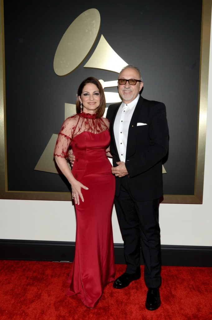 Nominee Gloria Estefan and Emilio Estefan arrive at the 56th Annual GRAMMY Awards on Jan. 26 in Los Angeles (Photo Credit: Larry Busacca/WireImage.com)