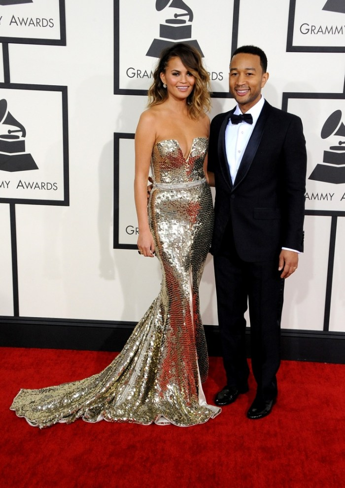 Christine Teigen and John Legend arrive at the 56th Annual GRAMMY Awards on Jan. 26 in Los Angeles (Photo Credit: Steve Granitz/WireImage.com)