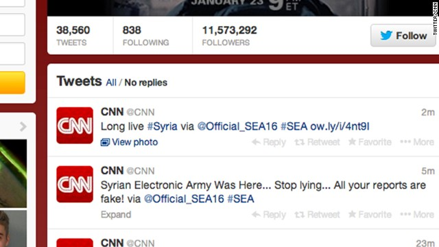 The affected accounts included CNN's main Facebook account, CNN Politics' Facebook account and the Twitter page for CNN, shown here, as well as blogs.(Photo Credit: CNN)