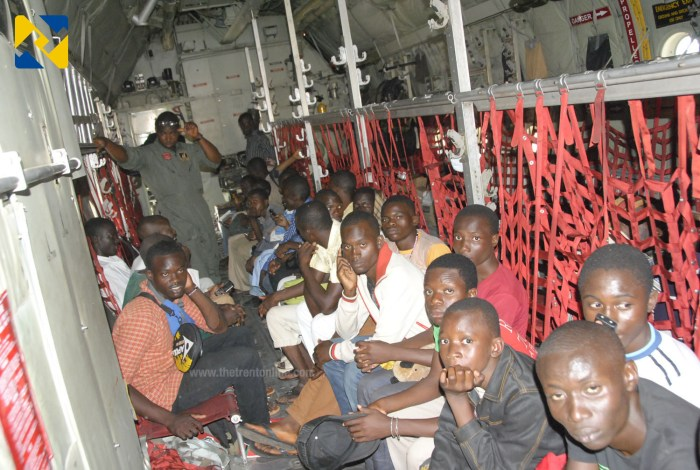 Cross section of evacuees inside NAF C130 aircraft (Photo Credit: Defence Information)
