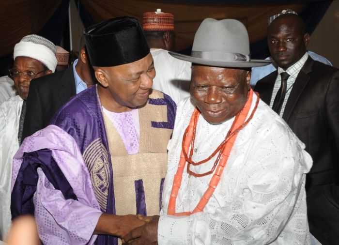 Chief Edwin Clark with Vice President Namadi Sambo on the occasion of Clark's birthday.