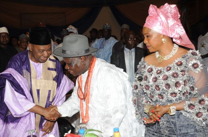 Chief Edwin Clark with Vice President Namadi Sambo and wife Bisola on the occasion of Clark's birthday.