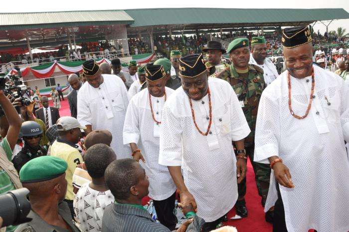 President Jonathan Campaigns in Uyo with Akwa Ibom Governor in 2011