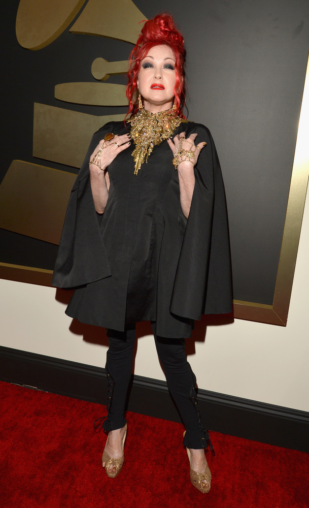 Cyndi Lauper in Alexander McQueen and Jimmy Choo