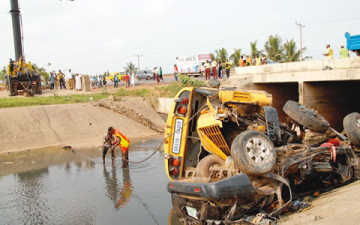 Photo of the accident scene taken on Sunday   Photo: Punch