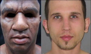 Conrad Zdzierak wears a black man's mask to commit crimes